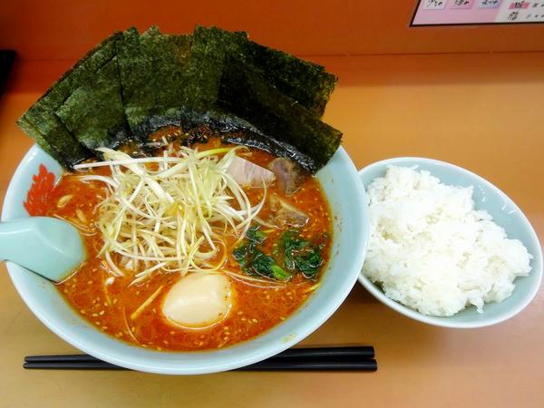 辛味噌ネギラーメン(激辛・脂普通・味普通・麺普通)+のり増し++半ライス