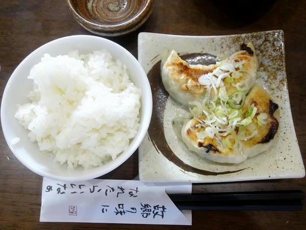 焼き餃子ランチ(小ライス)の餃子とライス
