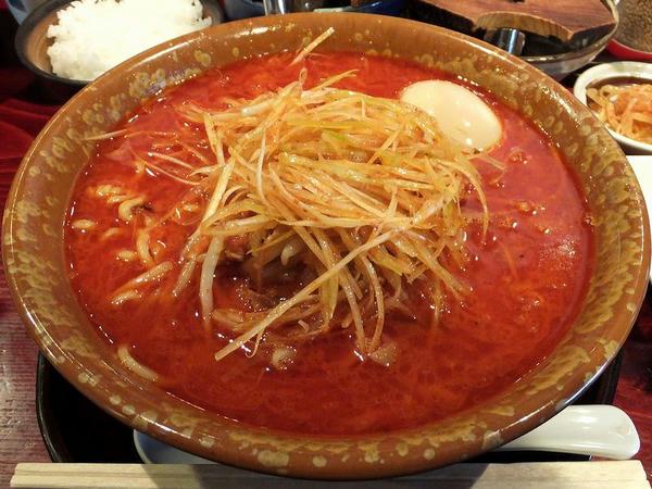 激辛みそ(中華太麺) 840円 + 半熟煮玉子 105円