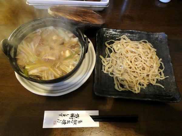 もつきのこつけ麺〆のライス付き(鉄鍋) 800円