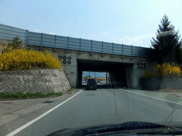 上信越道をくぐるトンネル両側の六文銭