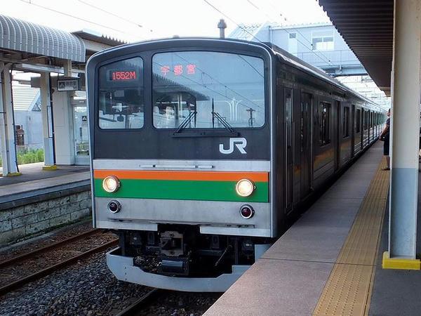 氏家駅からJR宇都宮線に乗車