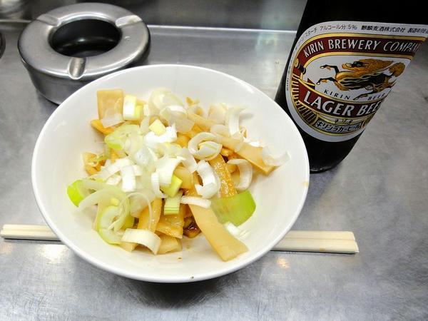 ビール小 400円 + 竹の子 200円