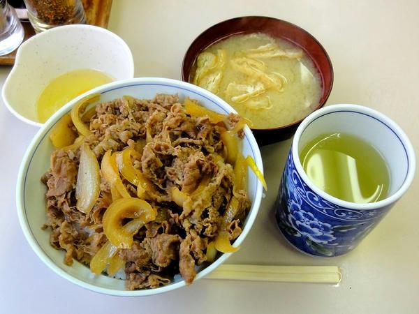 牛丼並 400円 + 玉子 50円 + みそ汁 50円