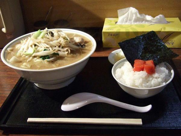 野菜ラーメン 750円 + 明太子半ライス 230円