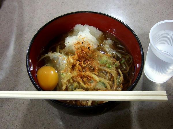 かきあげ(そば)+生卵