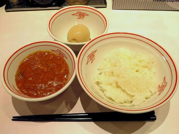 ほぐチャー定食 210円 と 半熟味玉 120円