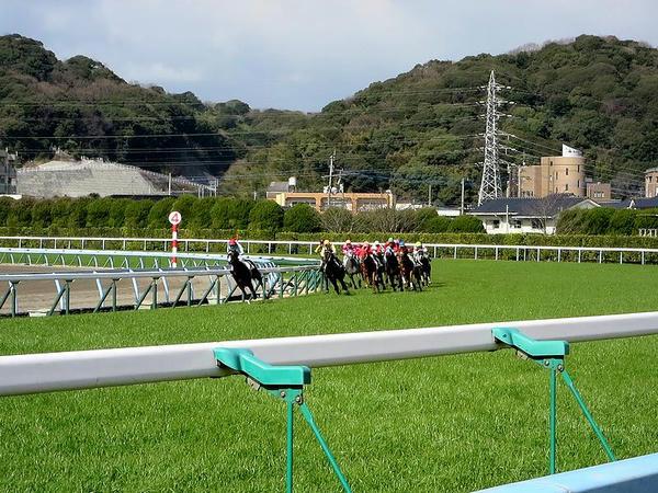 同Rで第4コーナーをコーナリングする各馬
