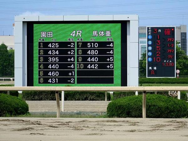 大型映像装置と着順表示板