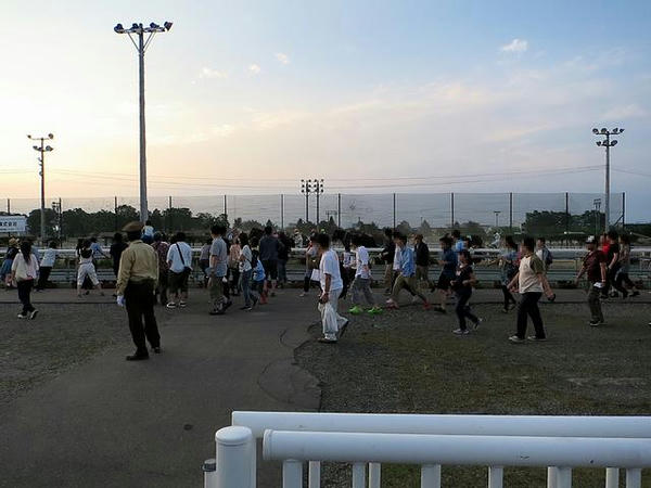 輓馬と一緒に移動する観客(第7レース)