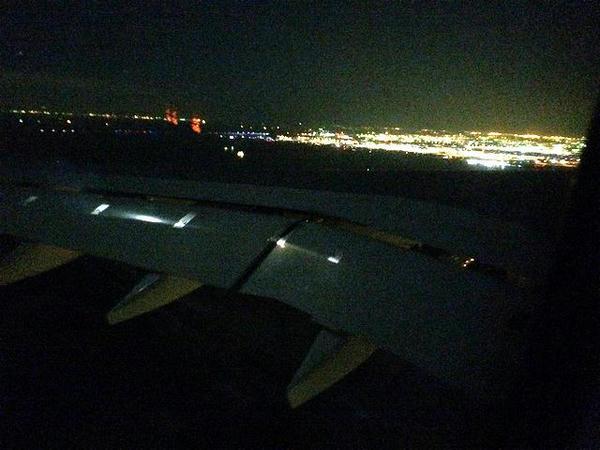 羽田空港到着間際に見えた夜景