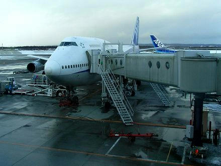 新千歳空港で出発を待つANA068便