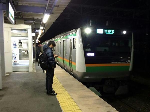 自宅最寄り駅に入線する宇都宮行き普通列車