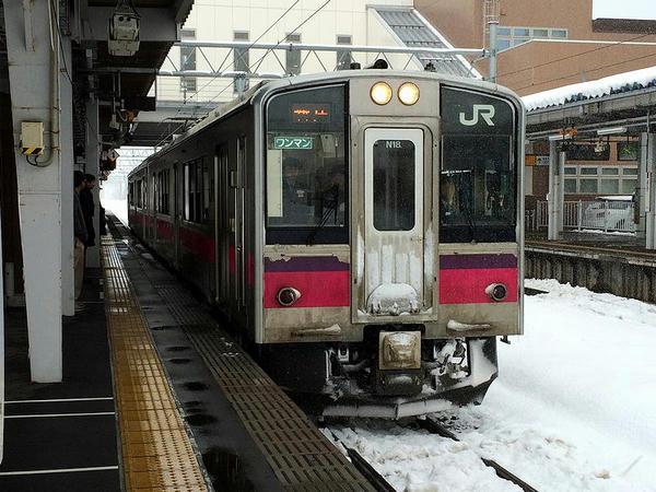遅れてやって来た新庄行き普通列車
