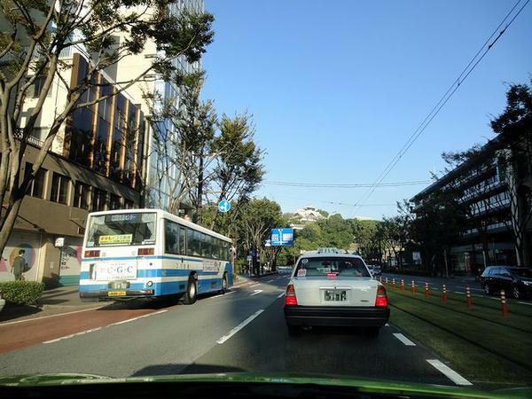 熊本市内を出発