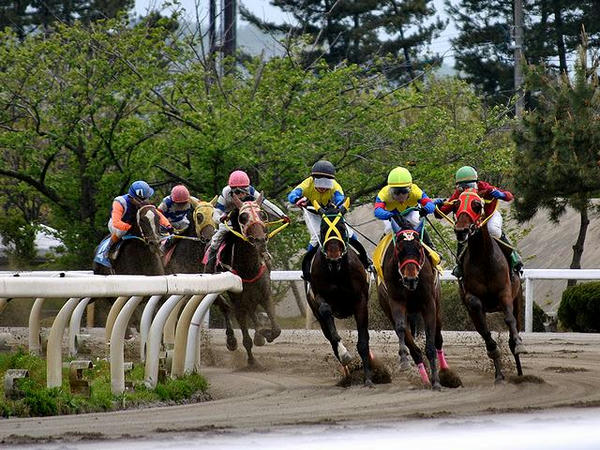 最終第4コーナーをコーナリングする競走馬(第2レース)