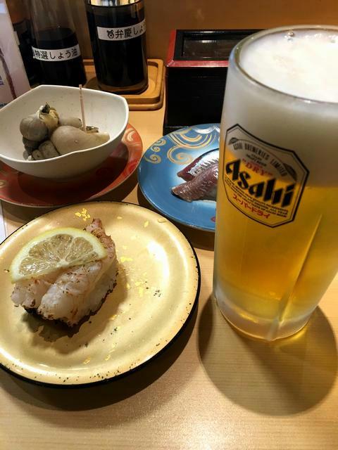 回転寿司店にて祝勝会
