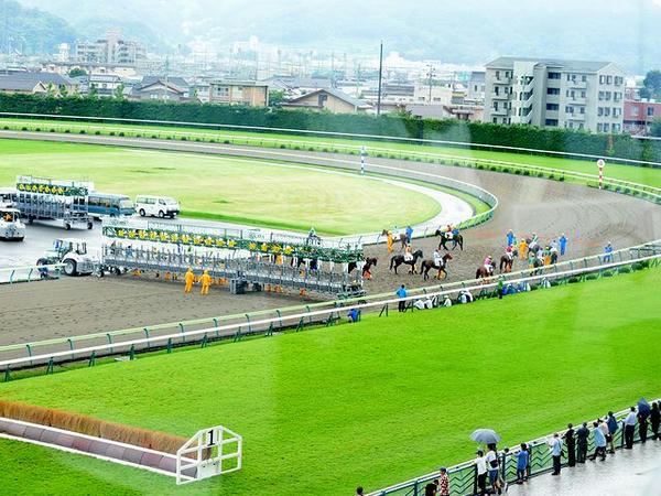 自席から見た雨の福島競馬場