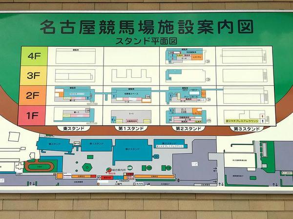 総合案内所に掲げられた名古屋競馬場施設案内図
