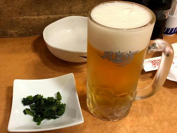 口取り 200円+税 と サッポロ生ビール黒ラベル<樽生>(中) 530円+税