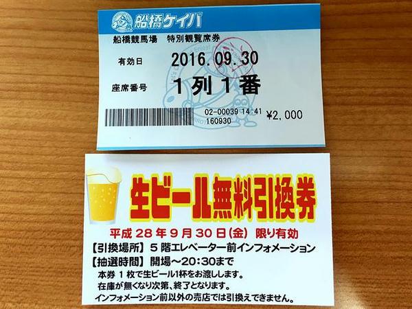 特別観覧席券と生ビール無料引換券
