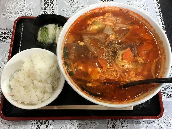 カルビらーめん(3辛) 1130円 + 小ライス 100円