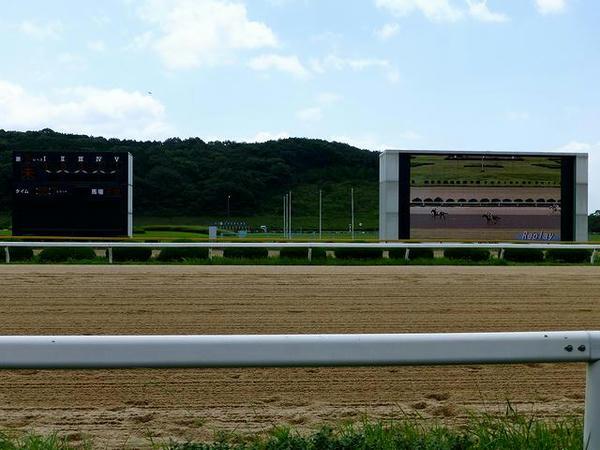 大型映像装置と着順掲示板