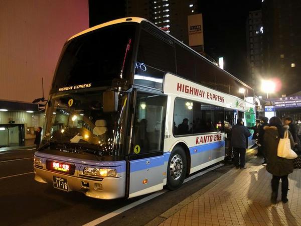 JR宇都宮駅西口から夜行バスに乗車