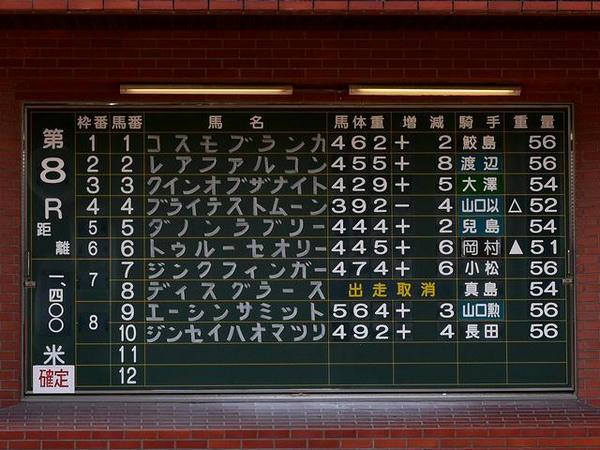 手書きの馬名(第8レース)