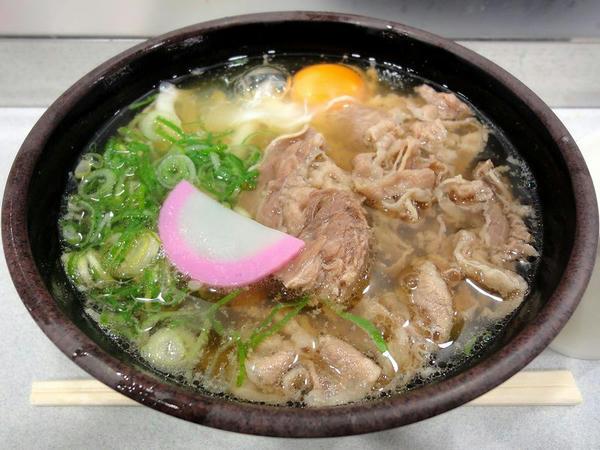 肉うどん 550円 + 玉子 50円
