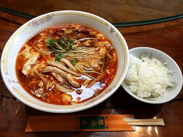 ランチ1番セット(酸辣湯麺) 980円 の酸辣湯麺とご飯