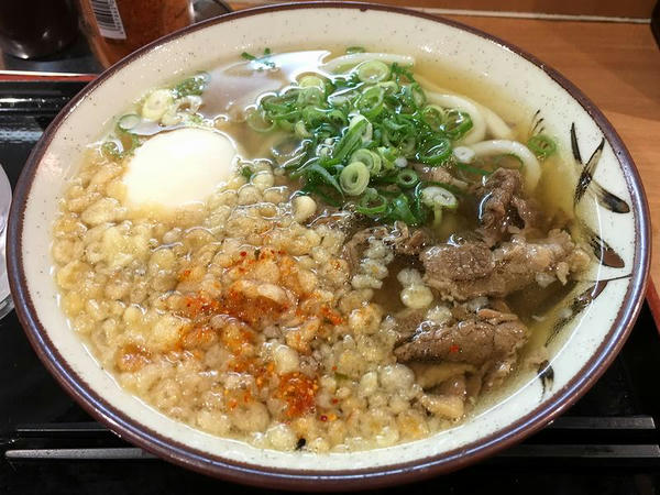 肉うどん 420円 + 温泉卵 80円