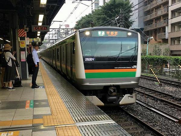 渋谷駅に入線する湘南新宿ライン
