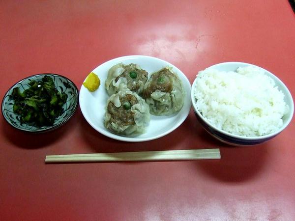 定食(塩ラーメン+シューマイ+小?ライス)800円の塩ラーメン