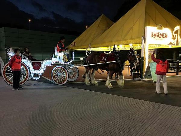 ぱかぱか広場と出発するスタークルージングの馬車