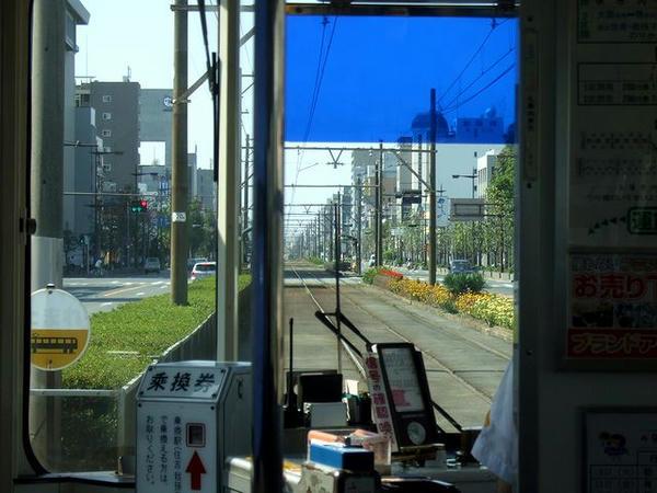 堺市内の併用軌道を行く