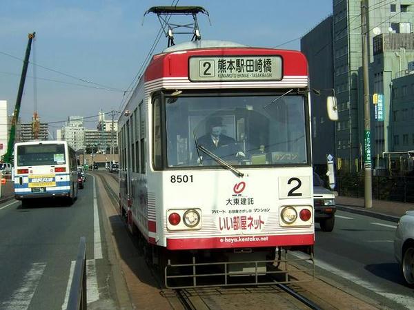 田崎橋電停に入線する折り返しの健軍町行き8501