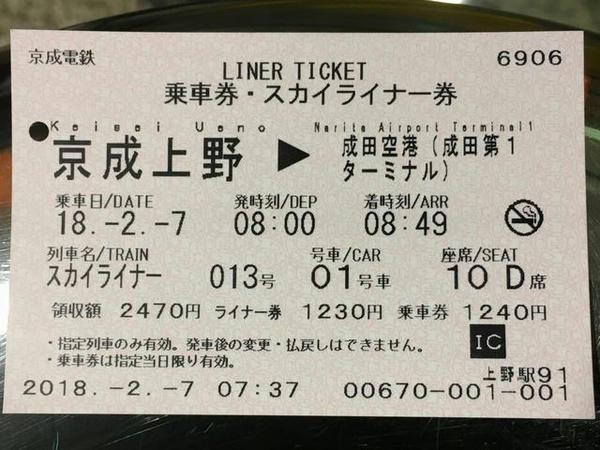 購入した乗車券・スカイライナー券