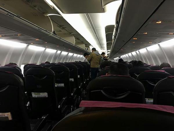 搭乗した機内