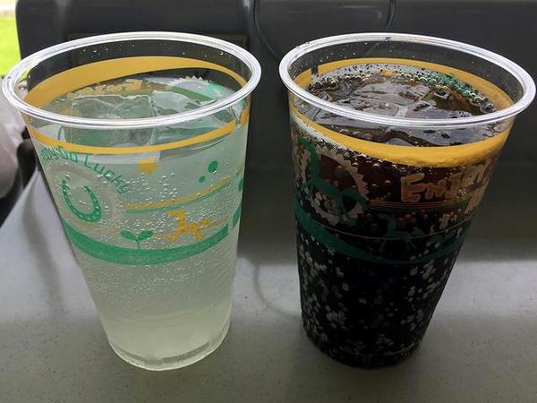 チューハイ(レモン) 420円 と コーラ 180円