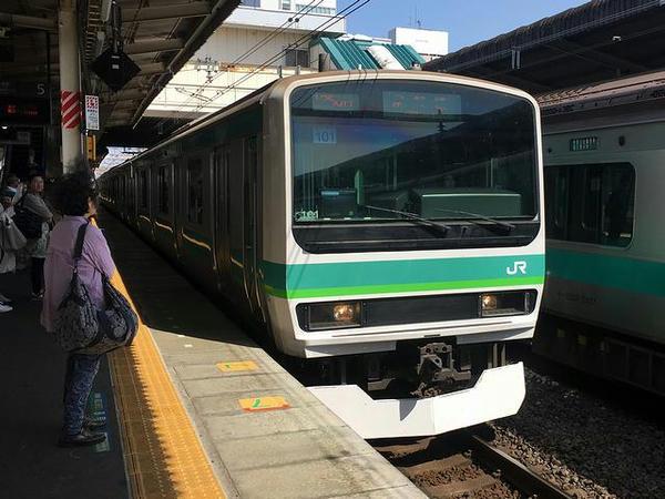 乗車したJR常磐線の上り快速列車