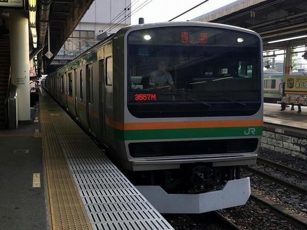 宇都宮駅に入ってきた湘南新宿ライン上り普通列車(になる回送列車)
