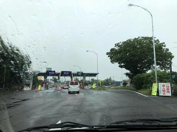 雨の福島西IC