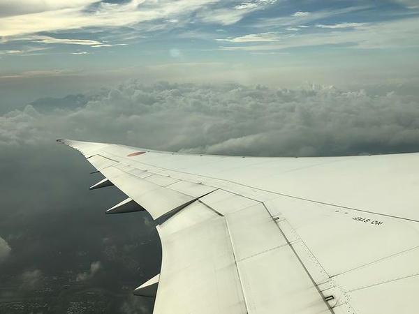 機窓から見た去り際の台湾