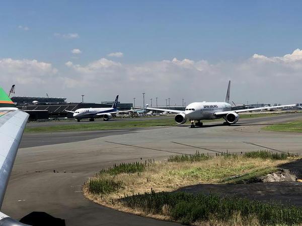 移動する日航機と全日空機