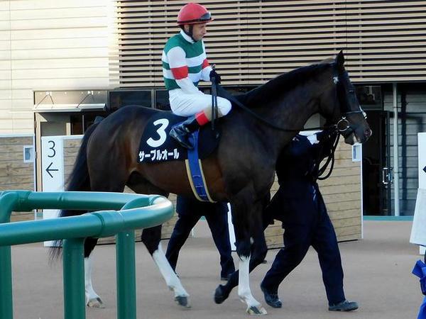 馬場へと向かう(3)サーブルオール号とC・ルメール騎手