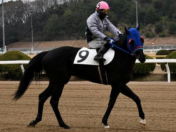 第2レースで防寒服を着る倉富隆一郎騎手