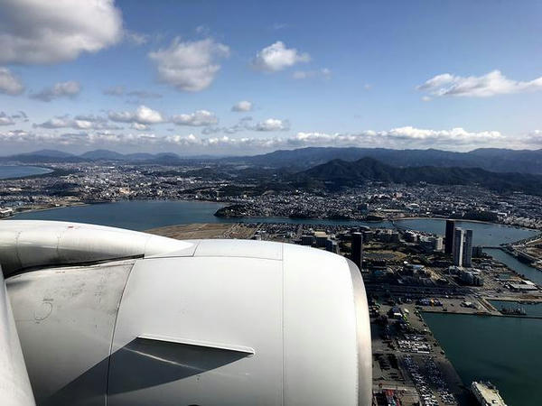 福岡空港着陸前