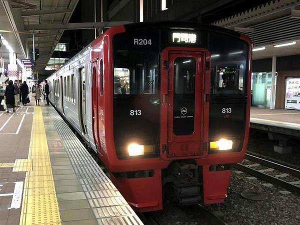 二日市駅で乗り換えた区間快速列車(博多駅にて)