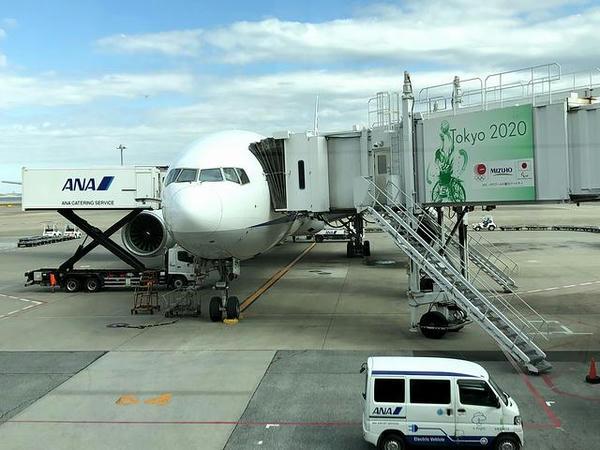 羽田空港に到着したANA248便